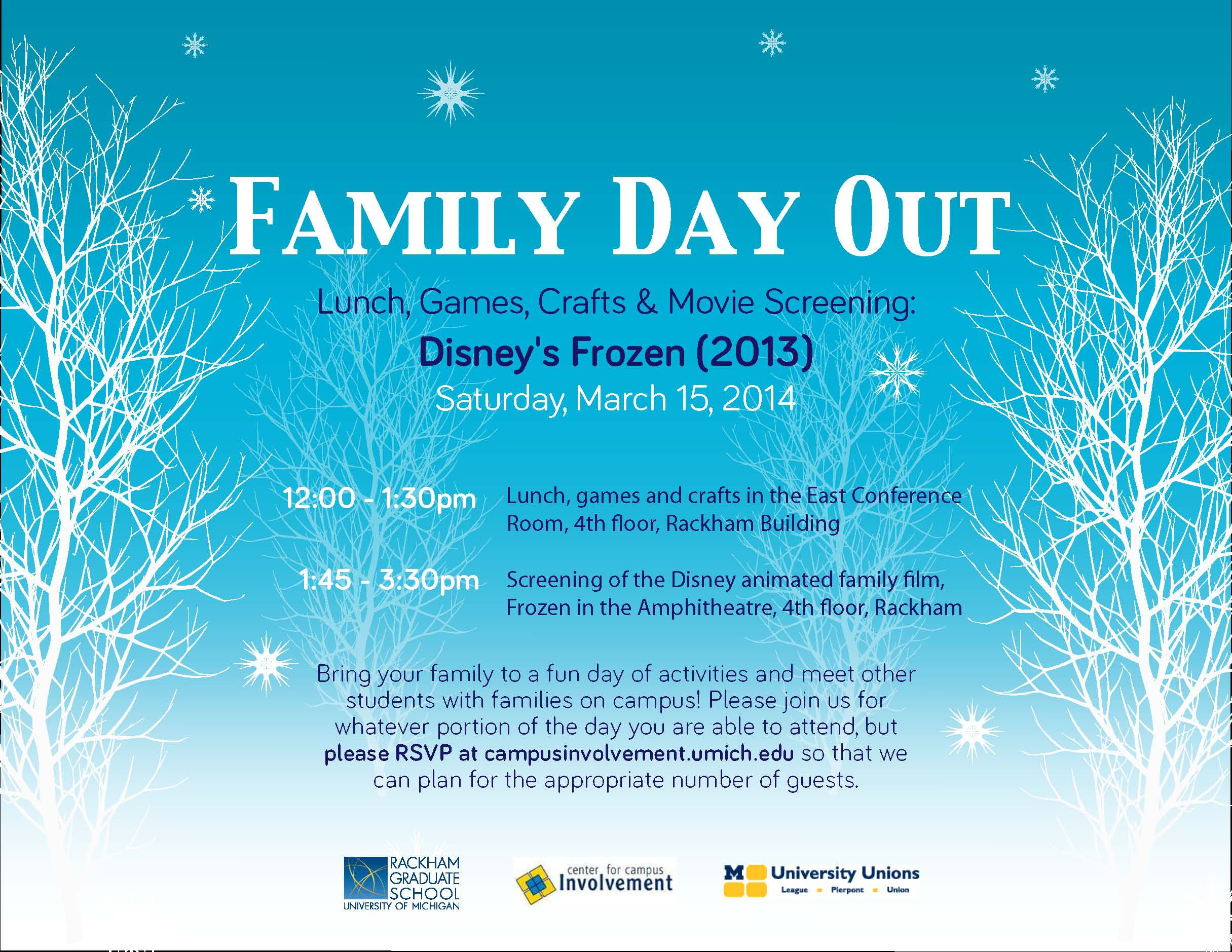 Family Day Out. March 15. Lunch, crafts, games and screening of Disney