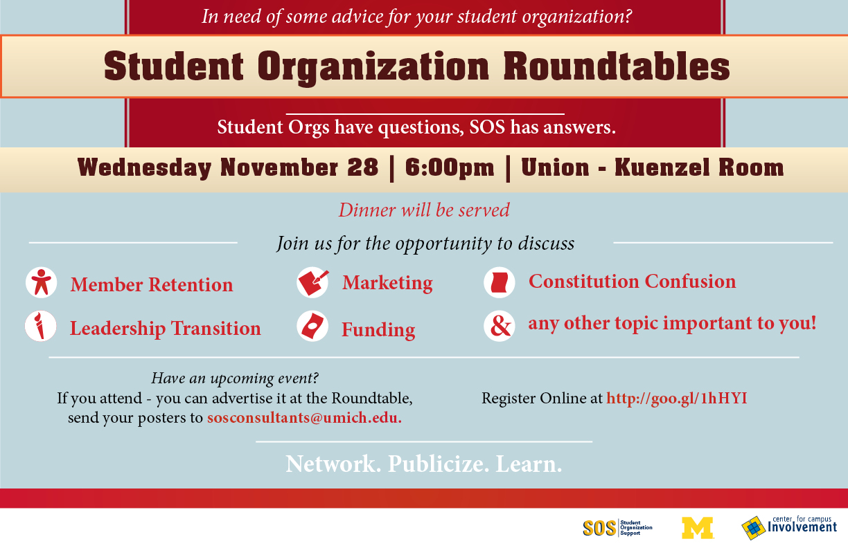 student organization roundtables students orgs have questions student orgs roundtables flyer