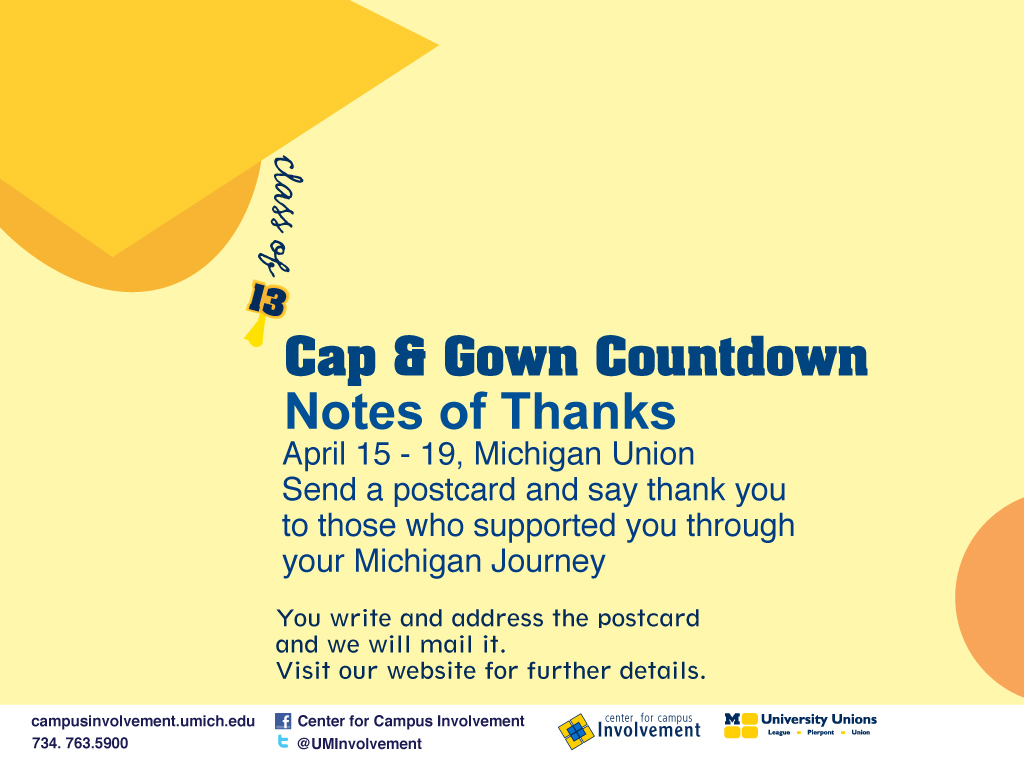 Cap & Gown Countdown 2013 - Notes of Thanks | Campus Involvement