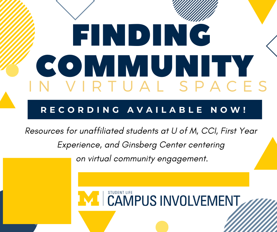 Finding Community in Virtual Spaces Flyer