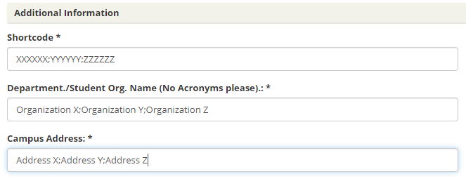 Example of text entry in EMS webform. Multiple shortcodes, organization names and addresses are each separated with semi-colons within the appropriate fields.