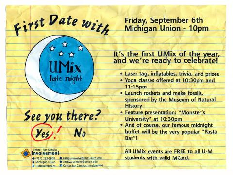 First Date with UMix - Friday September 6. 10pm - 2am. Michigan Union