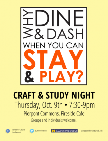 Stay play craft study night campus involvement for Stay at home craft jobs