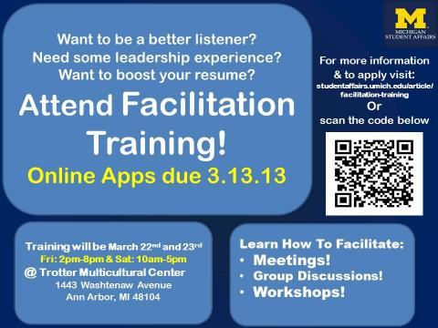 Student Life Facilitation Training flyer