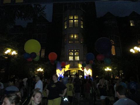 night view in front of michigan union