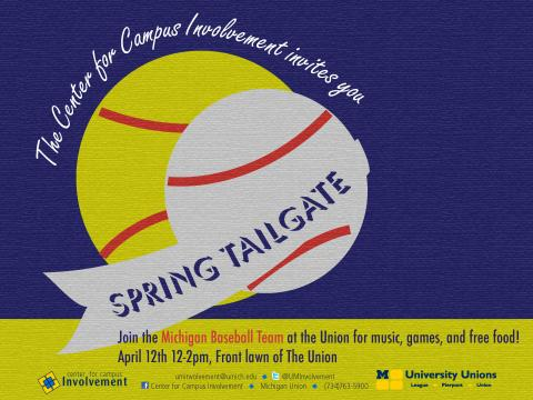 Go Blue Tailgate with the Baseball Team - April 12th, 12pm - 2pm