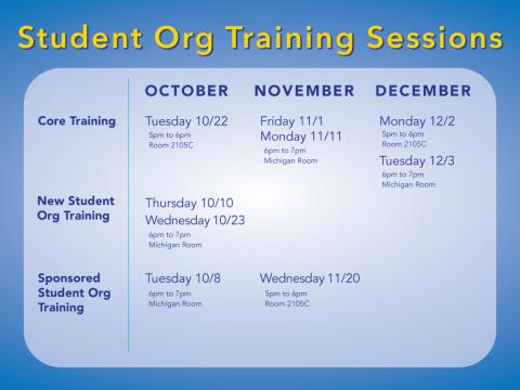 Student Organization Training Sessions
