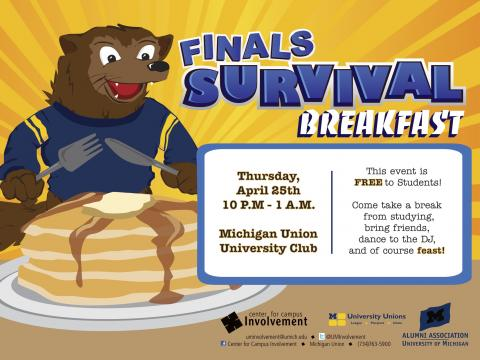 Finals survival breakfast flyer
