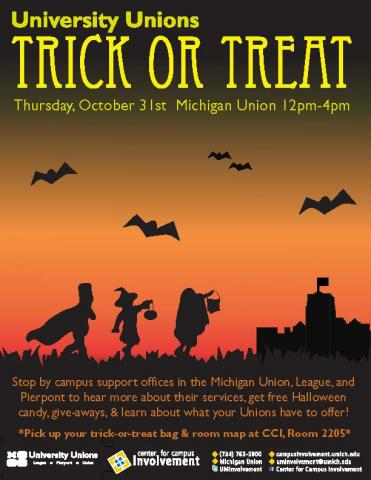 University Unions Trick-or-treat on 10/31 from 12pm-4pm in the Michigan Union