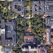 Diag and central campus aerial view
