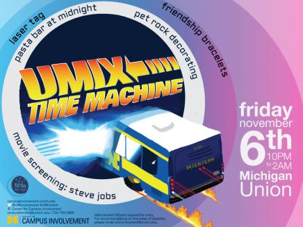 Michigan Bus flying into vortex of UMix Time Machine