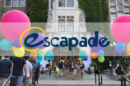 "Union front steps with students and colorful balloons, overlaid with the word ""Escapade"""