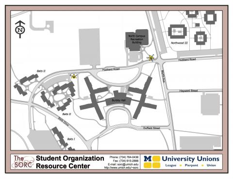 Map of Diag Boards Locations for North Campus