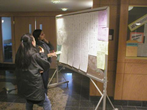 two students are looking at lottery wall