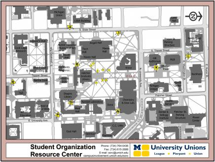 Map of Central Campus board locations.